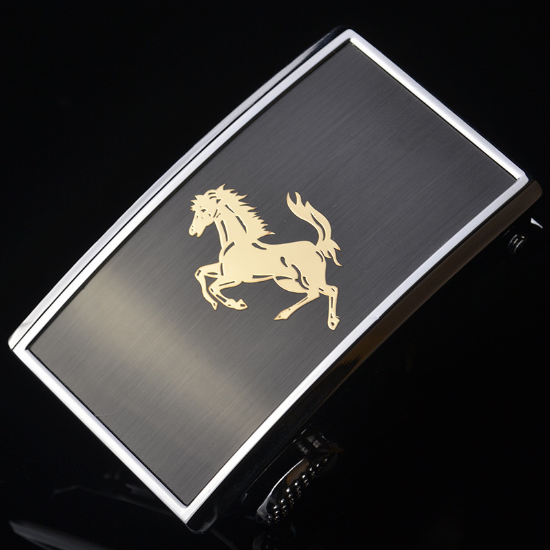3.5cm Width Belt Buckles For Men Silver Metal Animal Horse Inner Through Automatic Buckle Head For Genuine Leather Belts CE35780