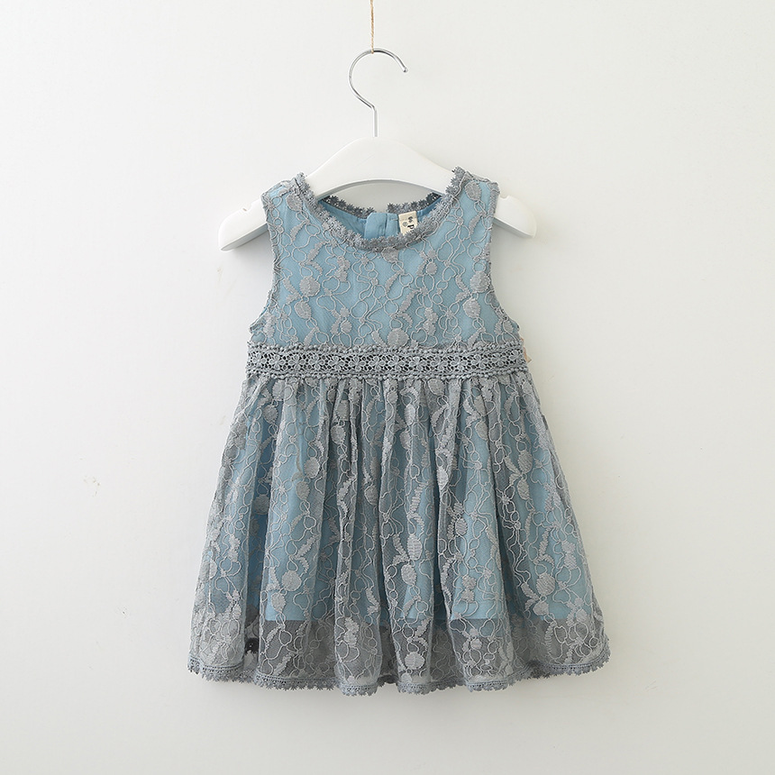Hurave New Party Vestido Casual Crew Neck Lace Clothes Children Summer Clothing Sleeveless Embroidery Dress Kids Clothes Dresses