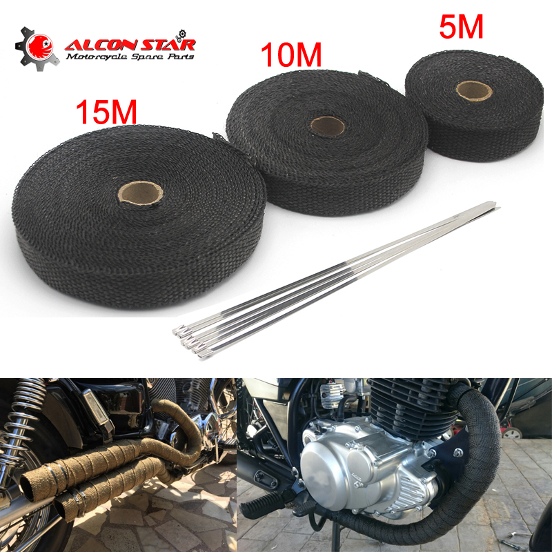 Alconstar- 5M/10M/15M Motorcycle Exhaust Thermal Tape Header Heat Wrap Manifold Insulation Roll Resistant with Stainless Ties image