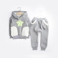 2014 New Children Boys Girls Winter Clothing Suit Star Fleece Warm Kids Set Fashion Sports Baby