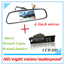 HD 2 in 1 4.3″ inch Digital LCD Mirror Parking Assistant with March Renault Logan & Renault Sandero parking CCD Rear view Camera