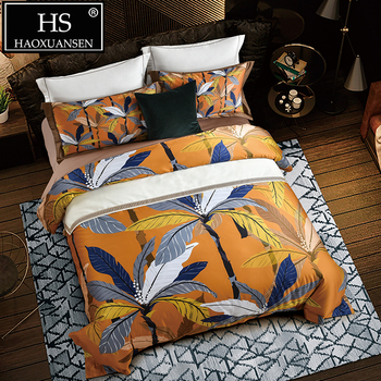 650 Thread Count Yellow 100% Cotton 4pcs Bedding Sets Banana Tree Digital Print Duvet Cover Sets Queen King Size Bedsheet Set