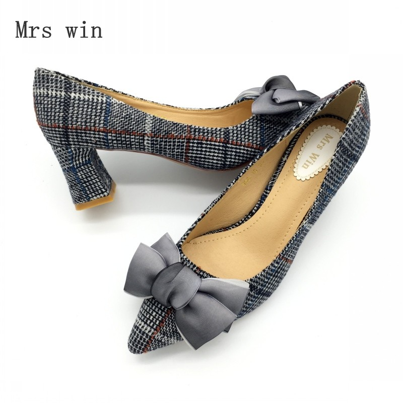 Shoes Women Pumps Spring Autumn Fashion High Heel Bowtie Slip-On Female Shoes Ladies Footwear Plaid Single Shoes Zapatos Mujer каталог pink lipstick
