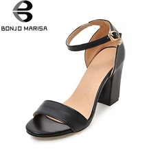 цены BONJOMARISA Big size 32-43 elegant ankle strap women shoes sandals concise OL office lady high heels summer sandals woman shoes