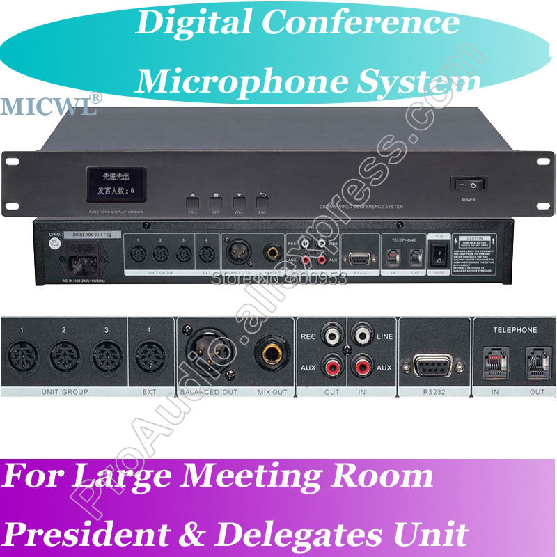 World Class MICWL 1 To 255 Microphone Digital Meeting Conference System with Teleconference function in Microphones from Consumer Electronics