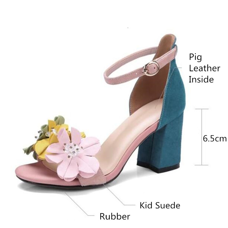 ba30c35f2fb2 Blue Suede Women Gladiator Sandals Ankle Strap Summer High Heels Ladies  Shoes 3D Flowers Sandalias Mujer Design Chaussure Femmes-in High Heels from  Shoes on ...