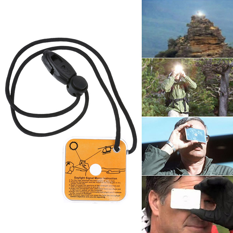 Survival Reflective Signal Mirror Emergency Star Flash Mirror With Landyard And Manual On Back