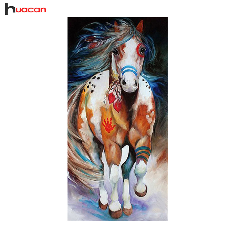 Horse arts and crafts - 5d Painting With Diamond Embroidery Diamond Mosaic Kit Square Rhinestones Colorful Horse Living Room Decoration Art