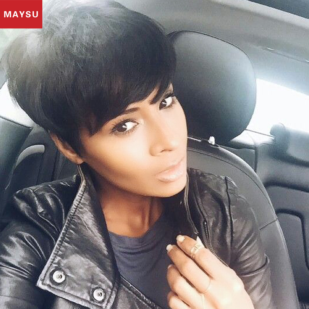 MAYSU Short Human Hair Wigs For Black Women African American Wig Layered Glueless None Lace Human