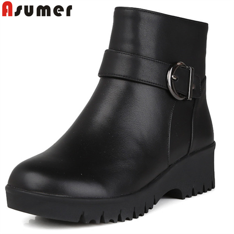ASUMER fashion ankle boots for women round toe zip genuine leather boots winter keep warm comfortable