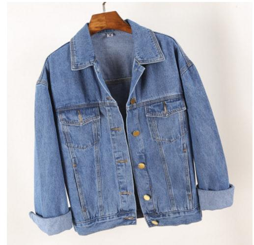 Fall 2017 new cowboy joker coat loose jean jacket female blue big yard