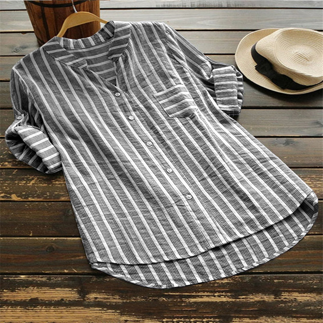 Plus Size Women Striped   Blouse     Shirt   V Neck 3/4 Sleeve Oversized   Blouse   Tunic Top Casual Button Loose Ladies Office   Shirts   Blusa