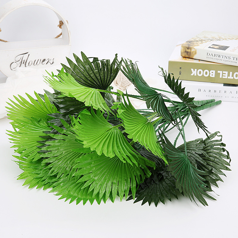 50cm 18Fork Fake Palm Tree Leaves Bouquet Silk Artificial Plant Tropical Coconut Leafs Green Banana Branch For Home Party Decor