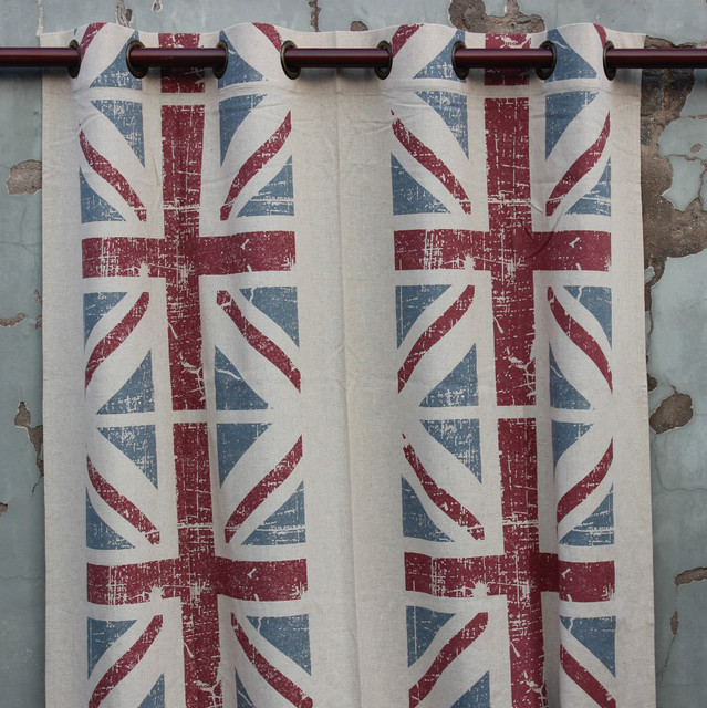 VEZO HOME New UNION JACK Cotton Linen Ready Window Curtains Panel Door  Kitchen Curtain Bedroom Living