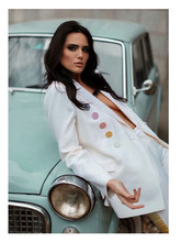 2109 Fashion, new color buttons, white suit, wool blend, fashion, work style.