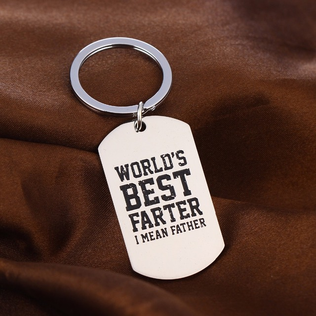 Funny Dad Daddy Key Chain Gifts World's Best Farter I Mean Father Keychain Stainless Steel Keyring Family Fathers Day Presents