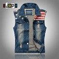 Мужская мода Американский Флаг Джинсовой Жилет Vintage Ripped Хип-Хоп Жилет Без Рукавов Куртки Для Битник