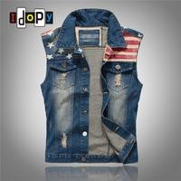 Fashion Men`s American Flag Denim Vest Vintage Ripped Hip Hop Waistcoat Sleeveless Jacket For Hipster