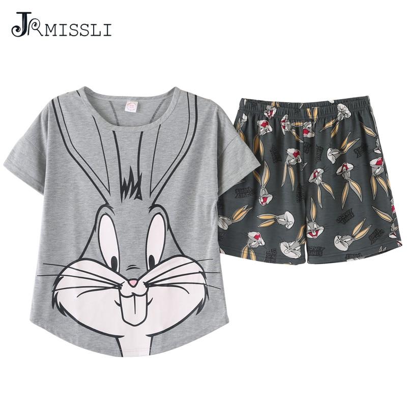 JRMISSLI women pajamas sets big size M-2XL 100% cotton short sleeve nightwear cartoon pyjamas lady summer sleepwear