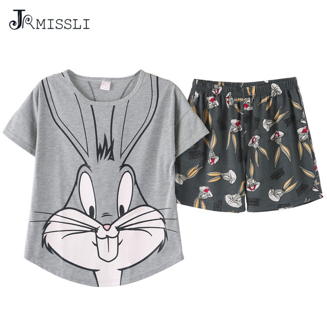JRMISSLI women pajamas sets big size M-2XL 100% cotton short sleeve nightwear cartoon pyjamas lady summer sleepwear