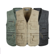 Spring and autumn male vest quinquagenarian multi-pocket 100% sand cotton plus size plus size vest plus size waistcoat  plus size 34 41 100