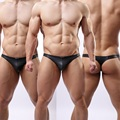 New Style Sexy Mens Thongs Underwear Low-Rise Faux Leather Thongs & G-strings Panties Black M-XL,Free Shipping 4pcs/lot
