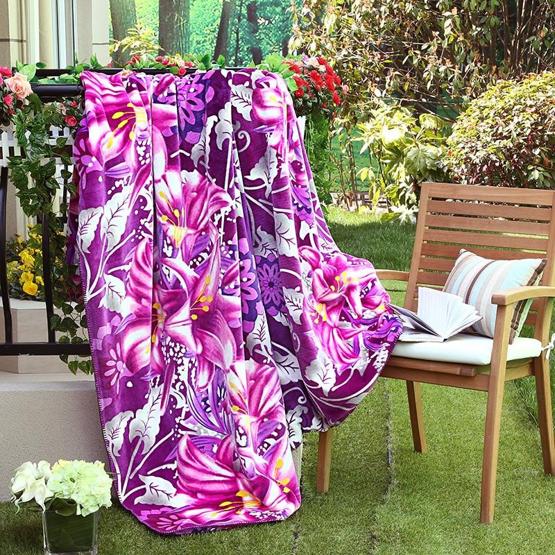 Arnigu Beautiful Flower print warm soft Thick Blankets Double Face Throw Queen size sofa blanket Winter Comforter/bed sheet