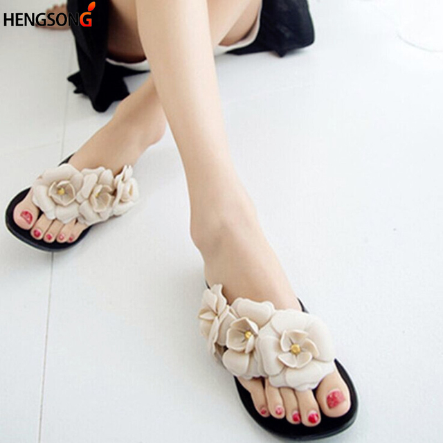 ec3f73b9557f30 Women Summer Slippers Candy Color Female Fashion Flip Flop Flats Shoes With  Beautiful Camellia Flower Sweet Beach Sandals 876340