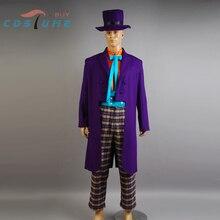 Batman Joker Jack Nicholson Outfits Cape Suit Jacket Hat Pant Gloves Movie Halloween Christmas Cosplay Costume For Men