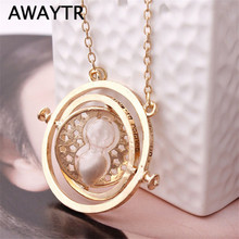 AWAYTR Hot Sale Vintage Hermione Granger Necklace Time-Turner Necklaces Hourglass Pendant Necklace for Unisex Jewelry