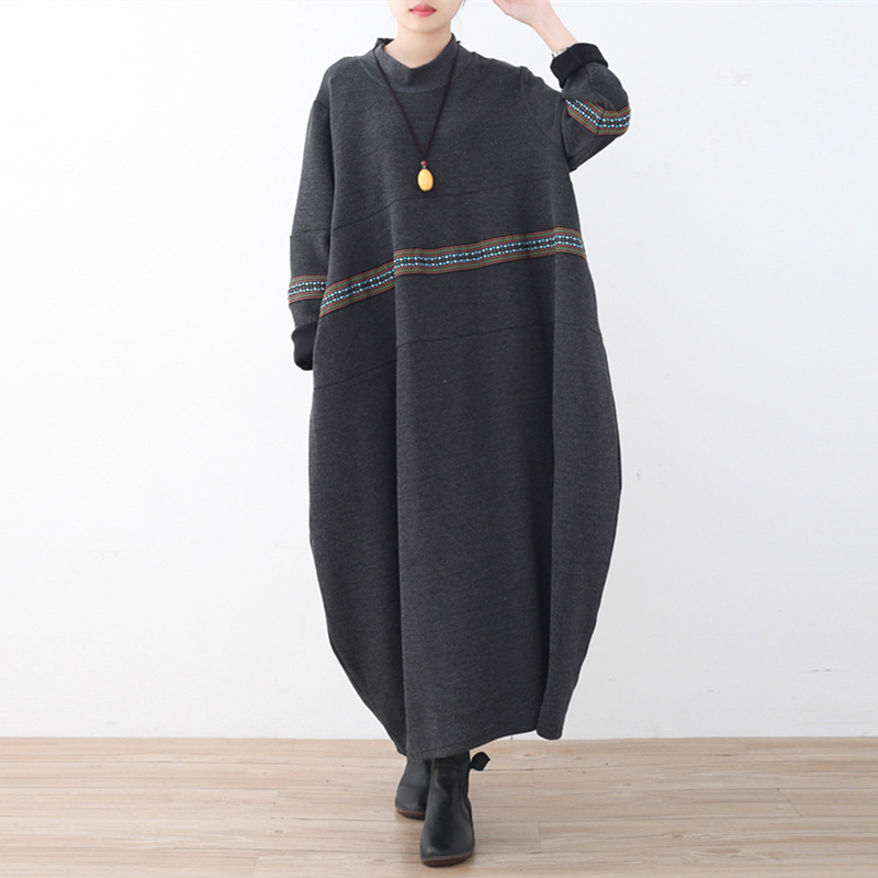 Johnature 빈티지 느슨한 대형 여성 드레스 2019 봄 새로운 패치 워크 자수 느슨한 허리 o 넥 롱 드레스-에서드레스부터 여성 의류 의  그룹 1