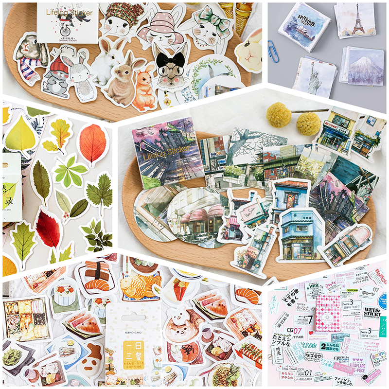 45pcs/lot Animal Plants Memo Stickers Pack Cute Kawaii Planner Diary Stickers Scrapbooking Stationery Merry Christmas Supplies
