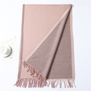 Image 5 - 2020 new winter scarf for women fashion striped cashmere shawls and wrap lady pashmina bandana thick neck female foulard scarves