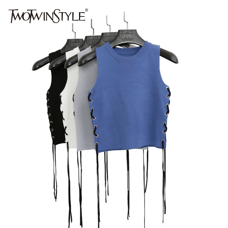 TWOTWINSTYLE Knitting Waistcoat For Women O Neck Sleeveless Lace Up Ribbons Casual Vest 2020 Spring Fashion Korean Clothing