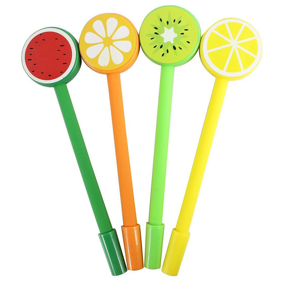 NEW Fresh fruit creative cartoon Rollerball Gel Ink Refill Pen Set,A group of 12,Random Color 140 page note paper creative fruit design