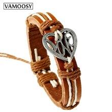 VAMOOSY 10pcs Female Bracelet New Fashion Heart Hang Tag  Adjustable Leather Bracelet Vintage  Bohemia Bracelets for Women Men vintage multilayered faux leather heart bracelet for men