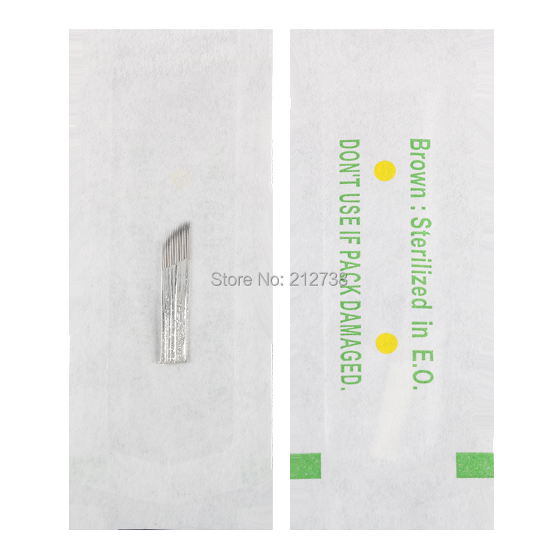 0 25mm 100 PCS 17 pin Tattoo Needles Eyebrow Permanent Makeup Tattoo Blade For 3D Embroidery Manual Microblading Pen in Tattoo Needles from Beauty Health