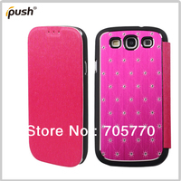 For Samsung I9300 Galaxy SIII 3 Flip PU Leather With Bling Diamond Cell Phone Case Free