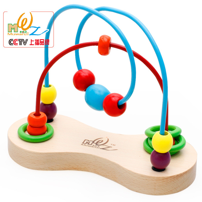 Children Kids Baby Colorful New Wooden Mini Bead Around Beads Maze Educational Game Toy игрушки животных на электро радиоуправлении thaw kay authentic