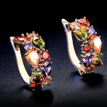 E321431 Luxurious colours CZ Crystal Earrings Zinc Alloy 18K Rose gold Rhodium Plated With Zircon Fashion Jewelry