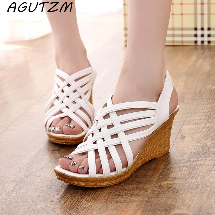 AGUTZM Shoe Woman Cross-Straps Elastic Bohemian-Style Summer New for The Female Slope