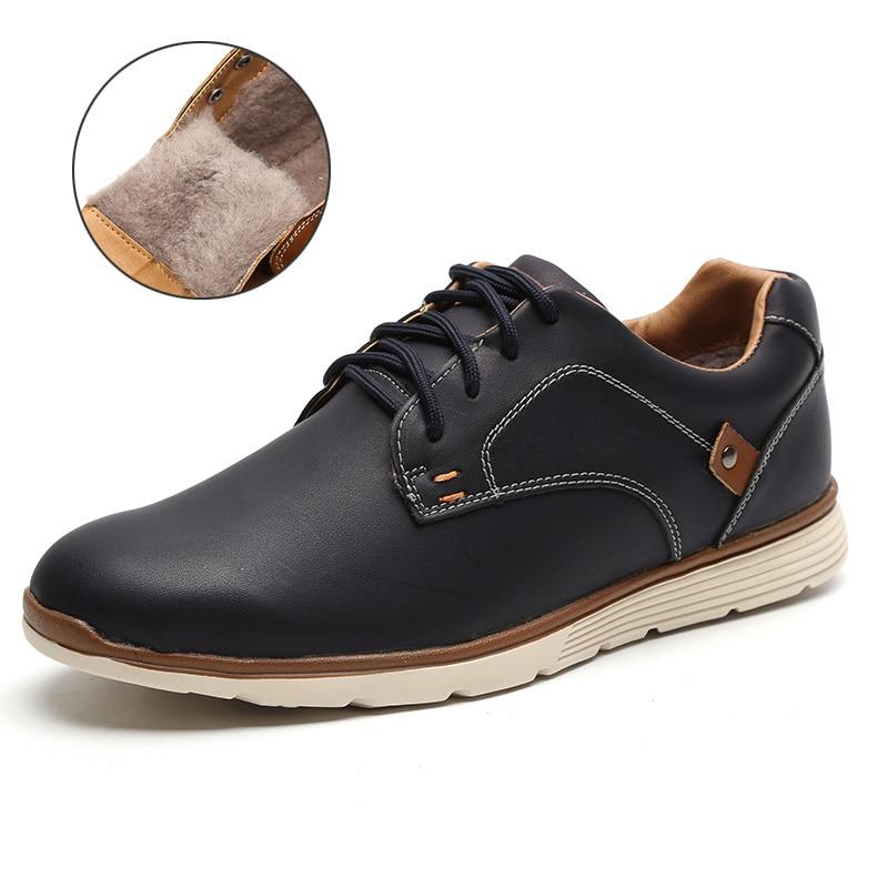 LINGGE Мужской обувь Высокое качество искусственная кожа Русский размер 39-46 кроссовки мужские Мужская повседневная обувь легкий кросовки мужские#IL007-2 - Цвет: Navy FUR