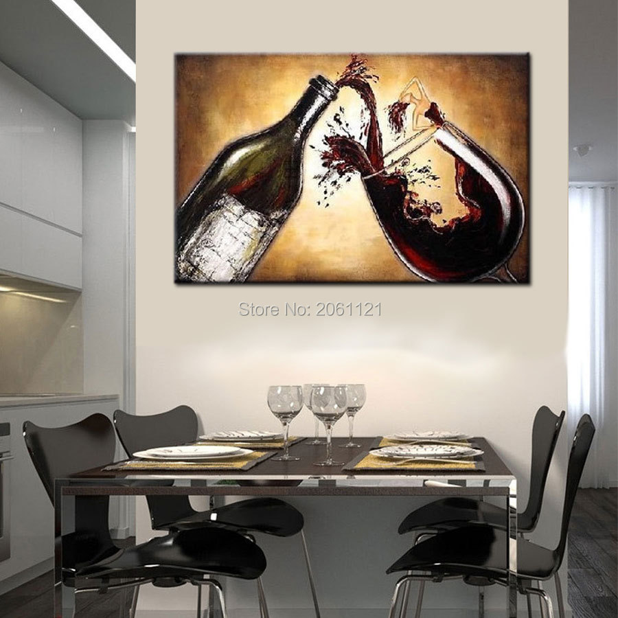 Hand Painted Abstract Oil Painting wine Canvas Wall Pictures for kitchen dining room cafe sitting room decoration in Painting Calligraphy from Home Garden