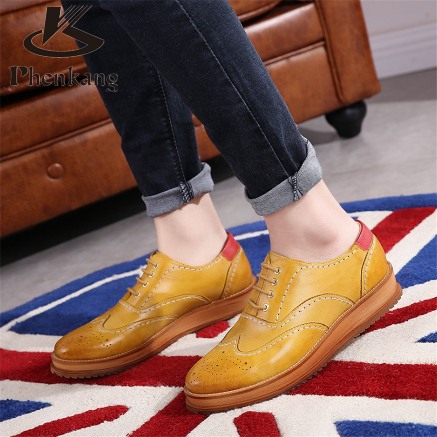 ФОТО Genuine leather 2017 sping flat platform British carved oxford shoes College style for women increased single shoes us size 8