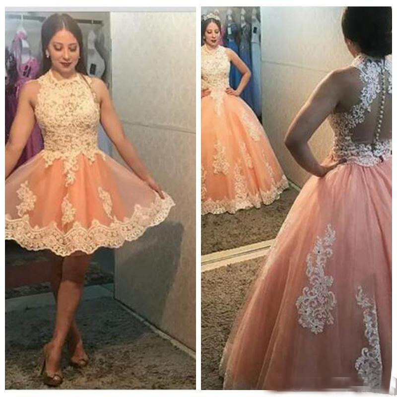 Two Piece Vestidos Ball Gown Prom Dresses 2019 Sweet 16 Quinceanera Dresses Lace Applique Tulle Cocktail Party Dresses