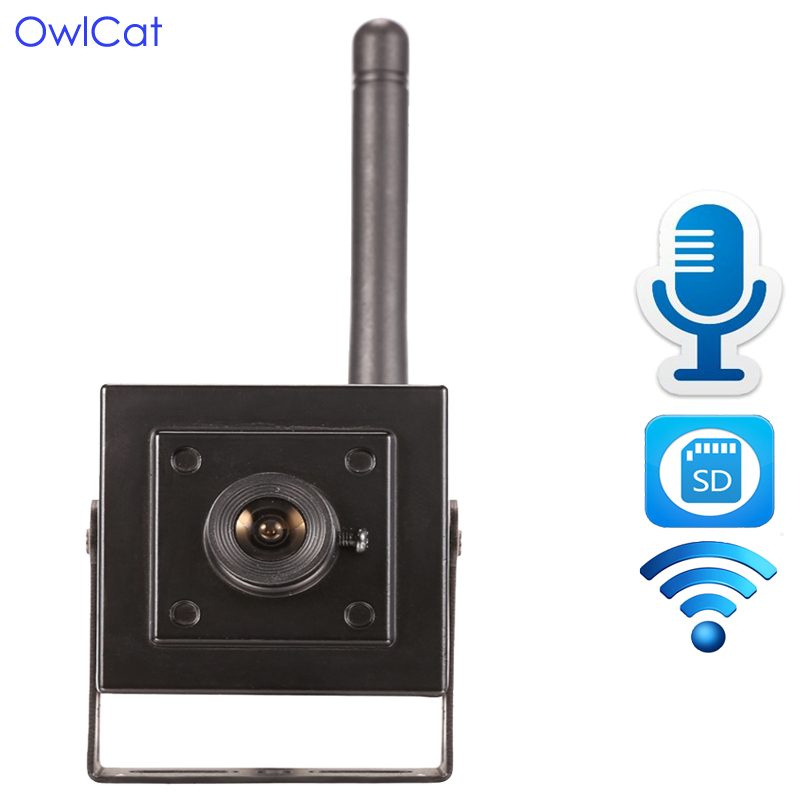 цена OwlCat HI3518E+SONY323 Wireless CCTV Mini IP Camera Wifi built in SD card slot Microphone Audio P2P Phone Remote view