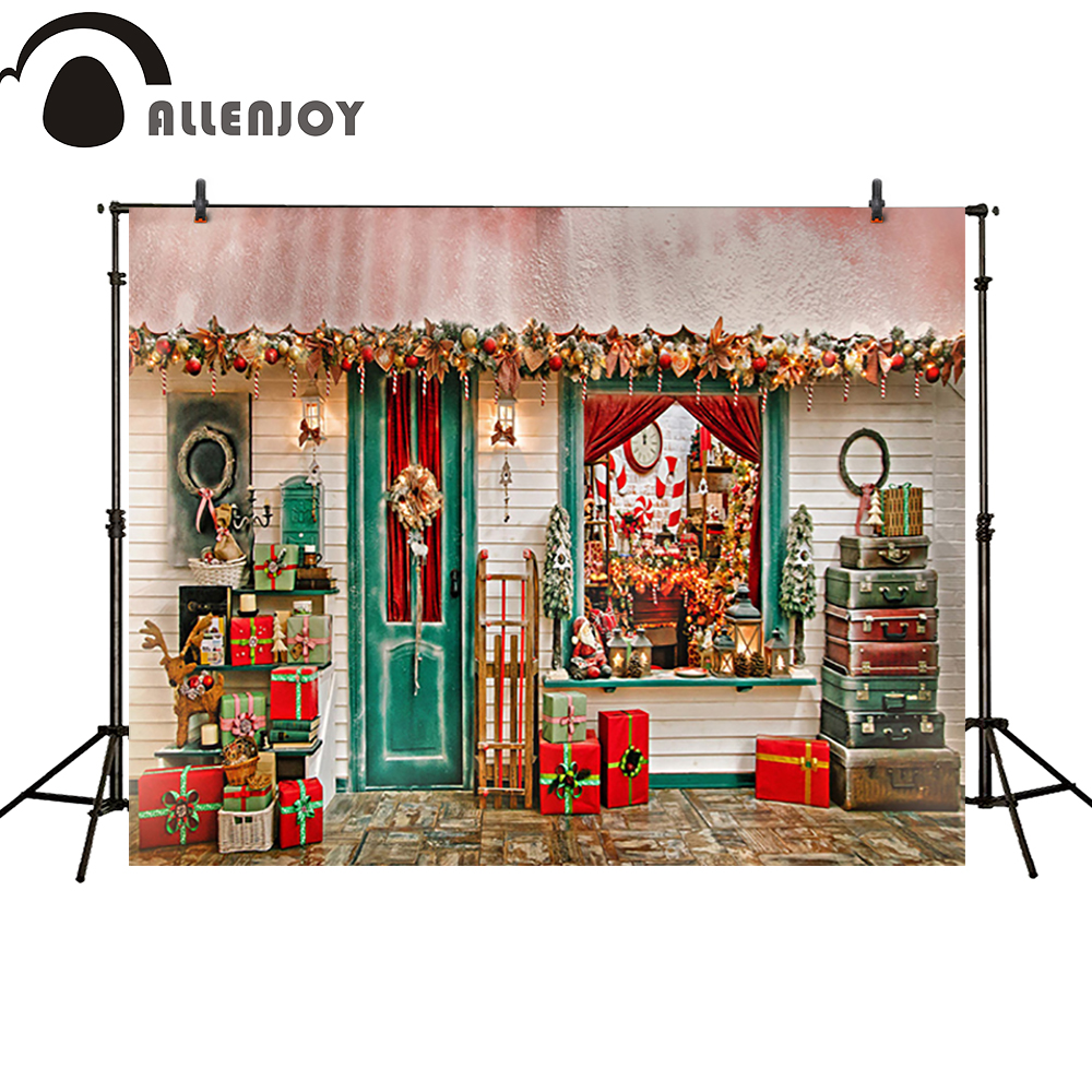 Allenjoy photography backdrop Christmas gifts door windows box house newborn photo studio photocall background custom allenjoy background for photo studio full moon spider black cat pumpkin halloween backdrop newborn original design fantasy props