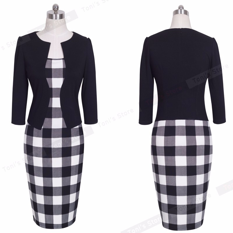 Nice-forever One-piece Faux Jacket Brief Elegant Patterns Work dress Office Bodycon Female 3/4 Or Full Sleeve Sheath Dress b237 26