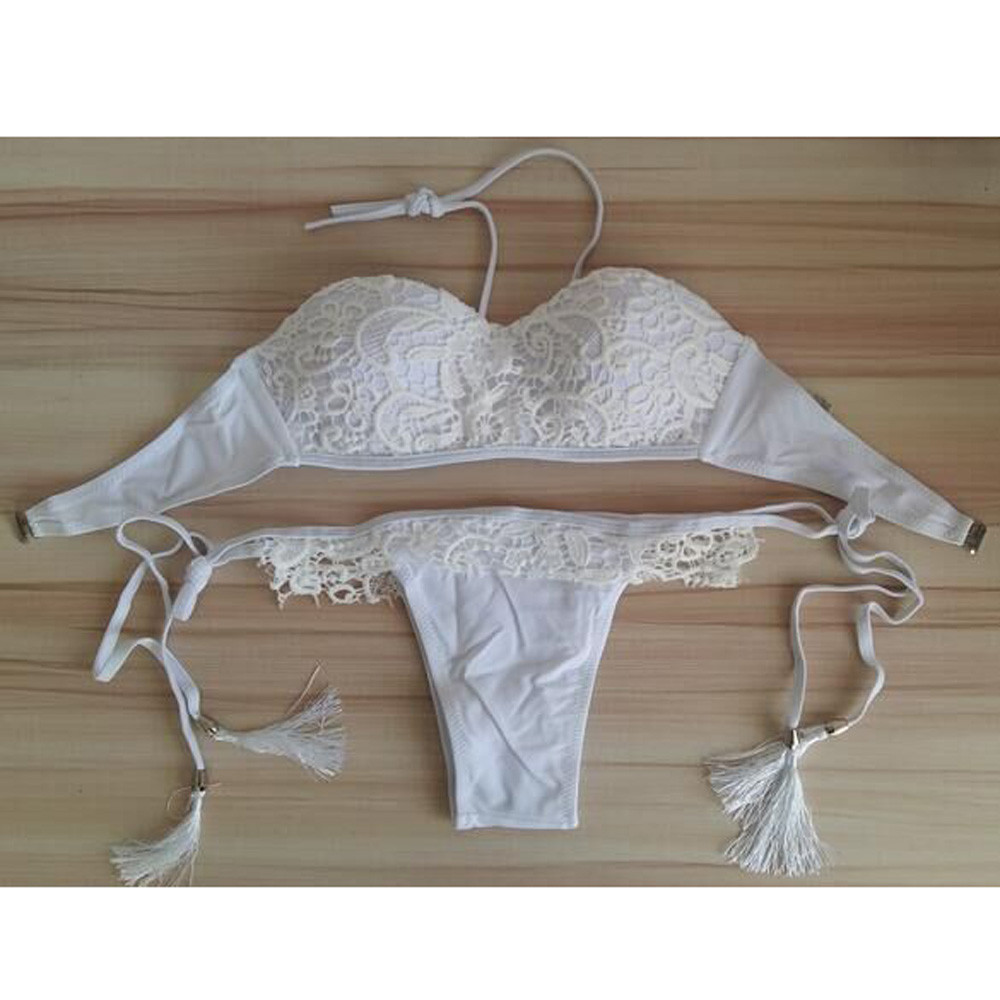 b3c8894d0b40 Biquini Sexy 2017 Lace Cover Up Swimwear Mulheres Biquíni Branco de Renda  Maiô Bandeau Biquíni Branco Maiô de Crochê em Conjunto biquínis de Sports  ...