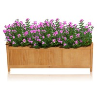 DE Large Rectangular 90CM Wooden Garden Planter Heavy Duty Trough Pot Succulent Flower Bed 90CM Herb Box Basket Garden Supplies